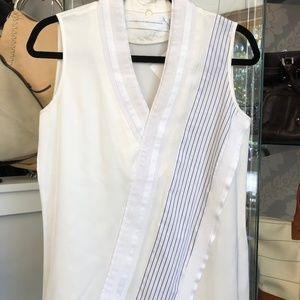 VICTORIA BECKHAM Ivory Cotton Striped Accent Top